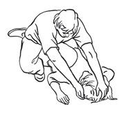 e – szyję wyprostować, głowę odchylić do tyłu, twarz odwrócić nieco do ziemi