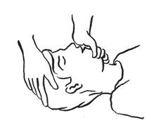 b – odgięcie głowy do tyłu