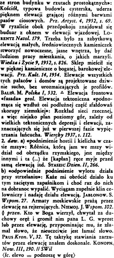 Elewacja Wielki Slownik W Doroszewskiego Pwn