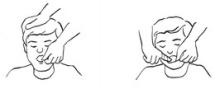 c-d – udrożnianie przez ręczne oczyszczanie jamy ustnej