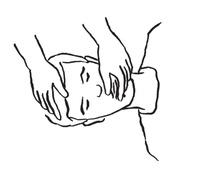 e – szczelne zamknięcie ust ratowanego przez dociśnięcie dłonią żuchwy do szczęki oraz kciukiem – dolnej wargi do górnej