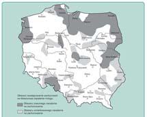 Obszary występowania w Polsce zachorowań na kleszczowe zapalenie mózgu