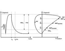 Zasada pomiaru parametrów układu oddechowego w czasie manewru forsownego (natężonego).