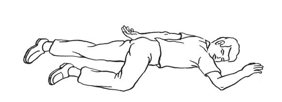 f – ostateczne ułożenie w pozycji ustalonej bocznej: jedna noga wyprostowana, druga przygięta, obie ręce zgięte w łokciach, głowa odwrócona w bok, a dłoń ręki po stronie nogi przygiętej podłożon
