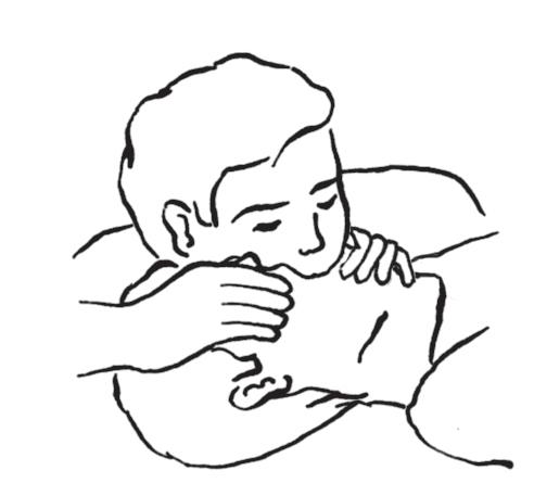 d – wdmuchiwanie powietrza ratującego przez usta ratowanego